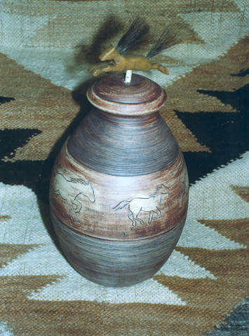 Horse vase with top by Shirley Brauker